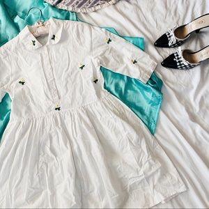 Vintage 90s Daisy Patch Button Babydoll Mini Dress